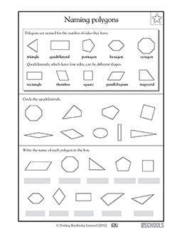 These polygons are named for the number of sides they have! In this math worksheet, your child gets practice identifying different quadrilaterals and other polygons.