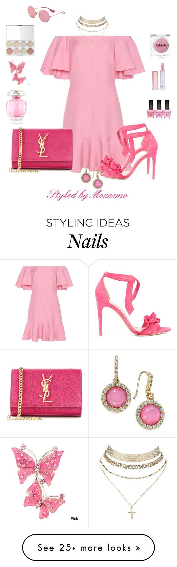 """""""Valentino Off-the-Shoulder Dress"""" by mozeemo on Polyvore featuring Valentino, Yves Saint Laurent, Alexandre Birman, Charlotte Russe, INC International Concepts, Maybelline, Nanacoco, Victoria's Secret, Rodin and Ray-Ban"""