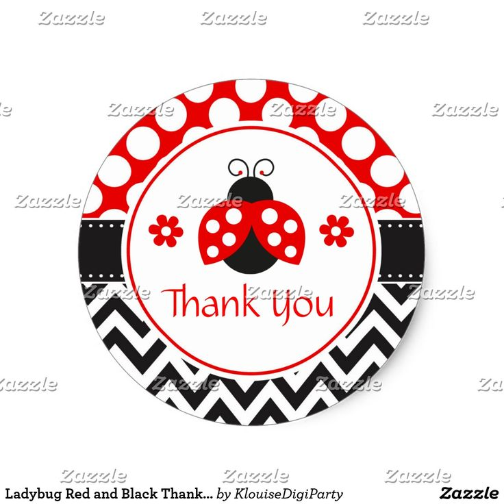 Ladybug Red and Black Thank You Baby Shower Classic Round Sticker