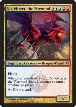 Magic: the Gathering - Niv-Mizzet, the Firemind - Duel Decks: Izzet vs Golgari - Foil by Wizards of the Coast. $4.34. A single individual card from the Magic: the Gathering (MTG) trading and collectible card game (TCG/CCG).. You will receive the Foil version of this card.. This is of Mythic Rare rarity.. From the Duel Decks: Izzet vs Golgari set.. Magic: the Gathering is a collectible card game created by Richard Garfield. In Magic, you play the role of a planeswalker who f...