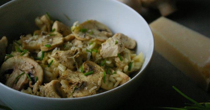 Obiad - Risotto z ziołowym kurczakiem i pieczarkami