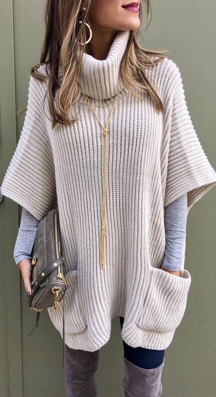 cute winter outfit_knit tunic + grey top + bag + jeans + over knee boots