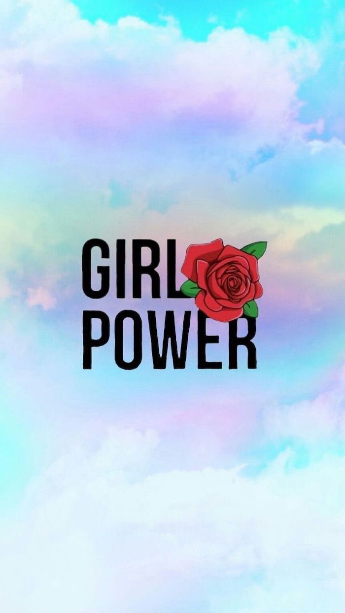 Girl Power Red Rose Kawaii Background Blue And Purple Sky Cute Backgrounds Cute Girl Wallpaper Cute Wallpaper For Phone