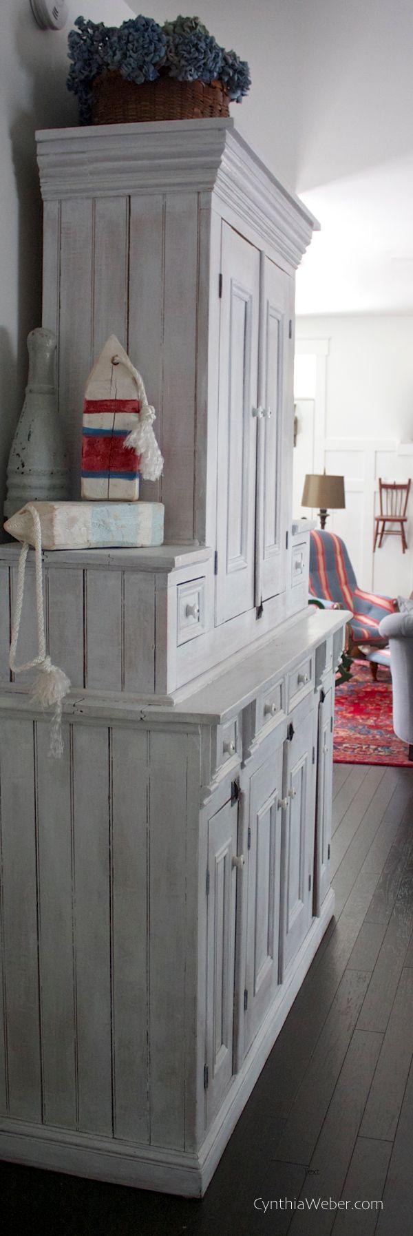 Antique Quebec Flatwall Cupboard whitewashed for coastal charm… CynthiaWeber.com
