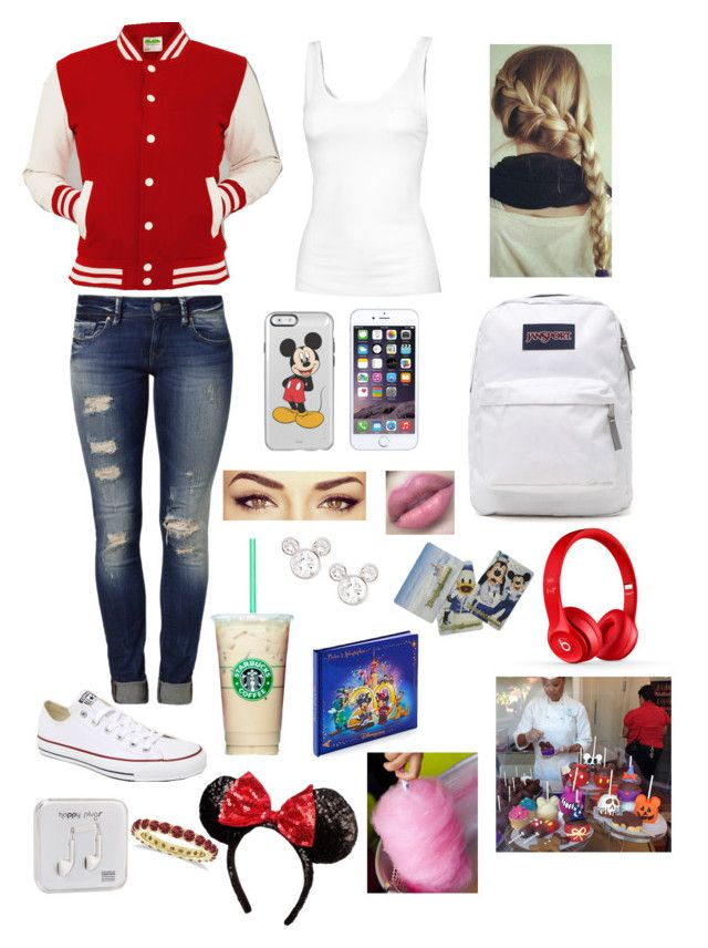 """""""Going to Disney land with friends"""" by juliahamey ❤ liked on Polyvore featuring Mavi, Converse, Fat Face, Beats by Dr. Dre, JanSport, Disney, Cotton Candy, Allurez and Happy Plugs"""