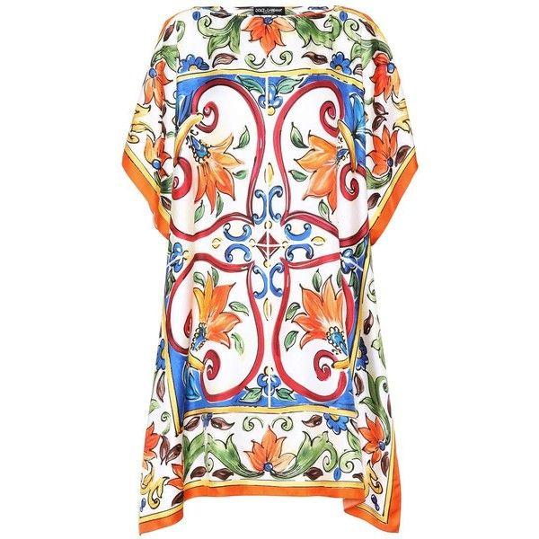 Dolce & Gabbana Printed Silk Kaftan (€1.125) ❤ liked on Polyvore featuring tops, tunics, dresses, multicoloured, short, silk top, colorful tunics, kaftan tops, caftan tops and silk kaftan