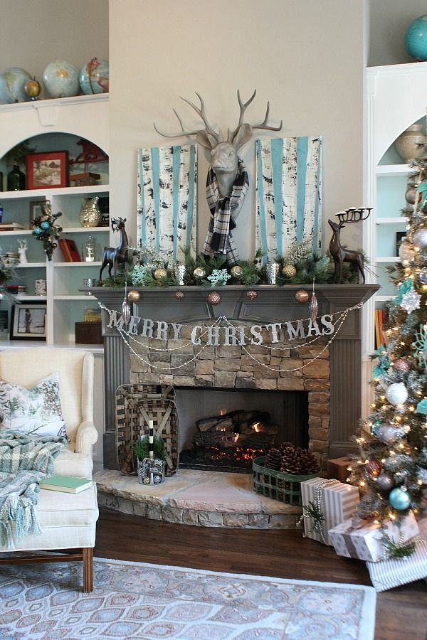 Living room fireplace ready for Christmas in blues