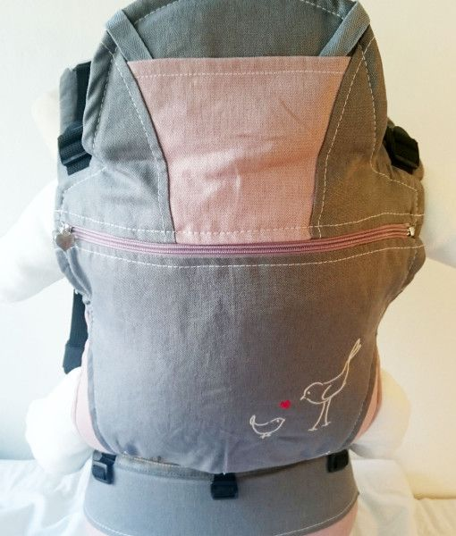 Organic Dove Grey and pink baby carrier