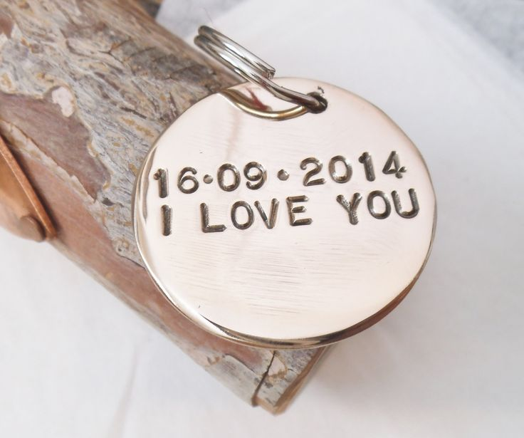 I Love You Keychain Personalized Bronze Jewelry Women Keychain Mom Gift for Boyfriend Anniversary Bronze Gifts for Men Husband Wife Couples (30.00 USD) by CandTCustomLures