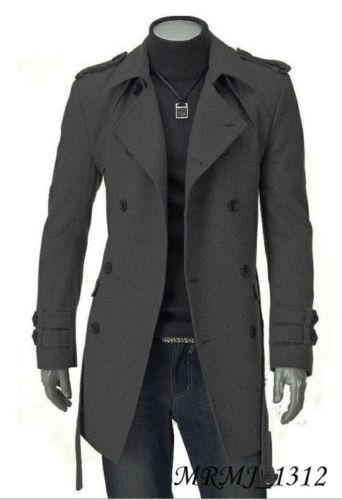 Fashion Men Wool Coat Winter Trench Coat Outear Overcoat Long Jacket Black Gray | eBay