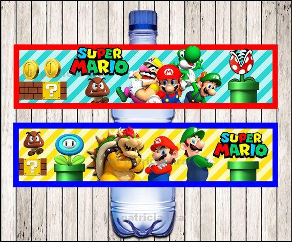 Super Mario Bros water labels instant download Mario Bros