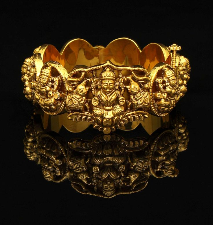 Gold Bangle | Antique Finish Lakshmi Kada. Shop for your wedding jewellery with Bridelan - a personal shopper & stylist for weddings, also a resource for finding rare jewels of India. Website www.bridelan.com #Bridelan #southindianjewellery