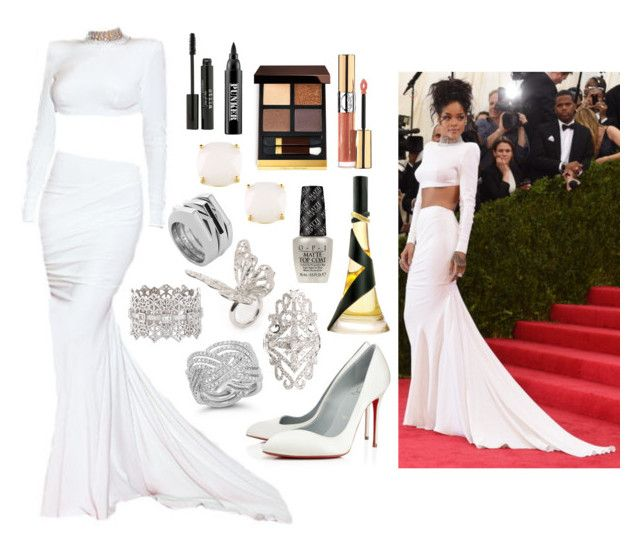 """""""Rihanna MET Gala 2014"""" by ravenclaw-phoenix ❤ liked on Polyvore featuring Christian Louboutin, Dana Rebecca Designs, Alexander McQueen, Elise Dray, Grace Lee Designs, Vince Camuto, OPI, Yves Saint Laurent, Kate Spade and Tom Ford"""