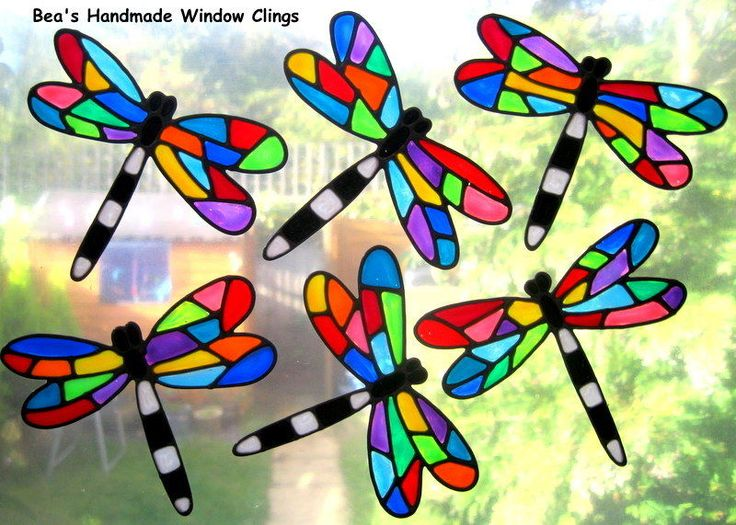 ♥beas funky dragonflies stained glass effect window cling safety stickers♥