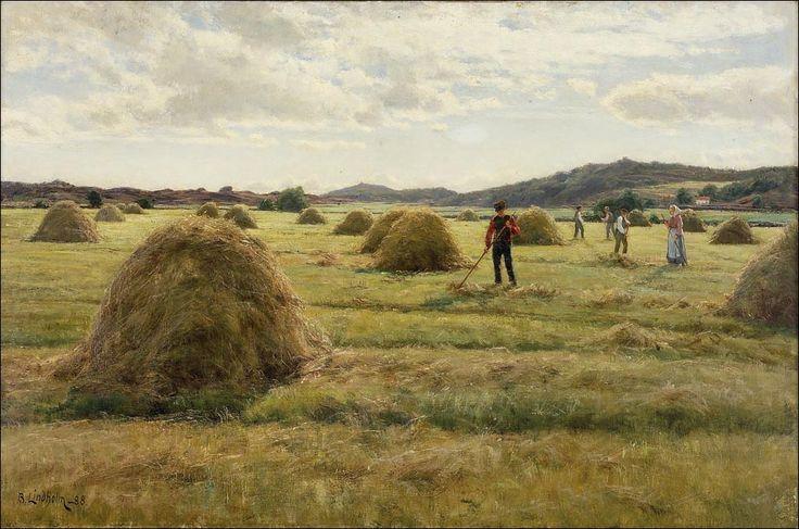 BERNDT LINDHOLM (1841-1914)  SADONKORJUU -HARVEST 1888 - Finland