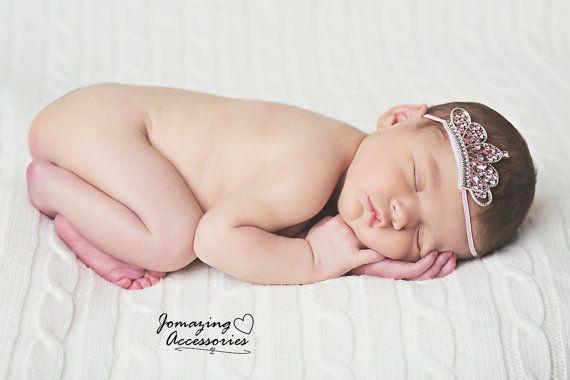 Newborn Headband  Pink Baby Girl Headband  by JoMazingAccessories, $9.49