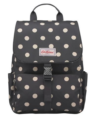 Cath Kidston charcoal button spot Buckle Backpack