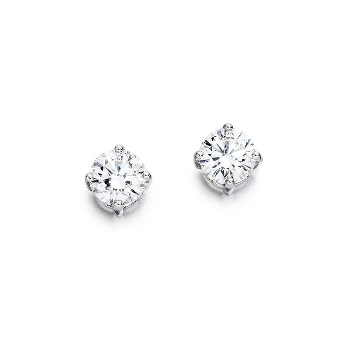 Pair of 1 carat diamond solitaire earrings certified by GIA.  Total diamond weight:  2 carats.