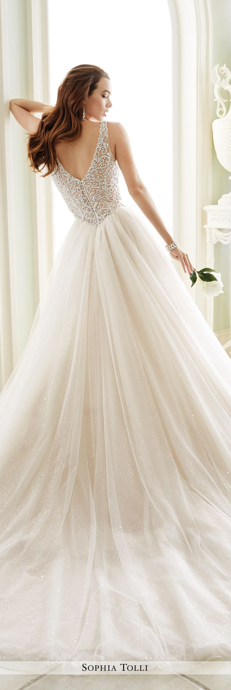 Sophia Tolli Fall 2016 Wedding Gown Collection - Style No. Y21673 Maddalena - sleeveless misty tulle ball gown wedding dress with hand-beaded bodice