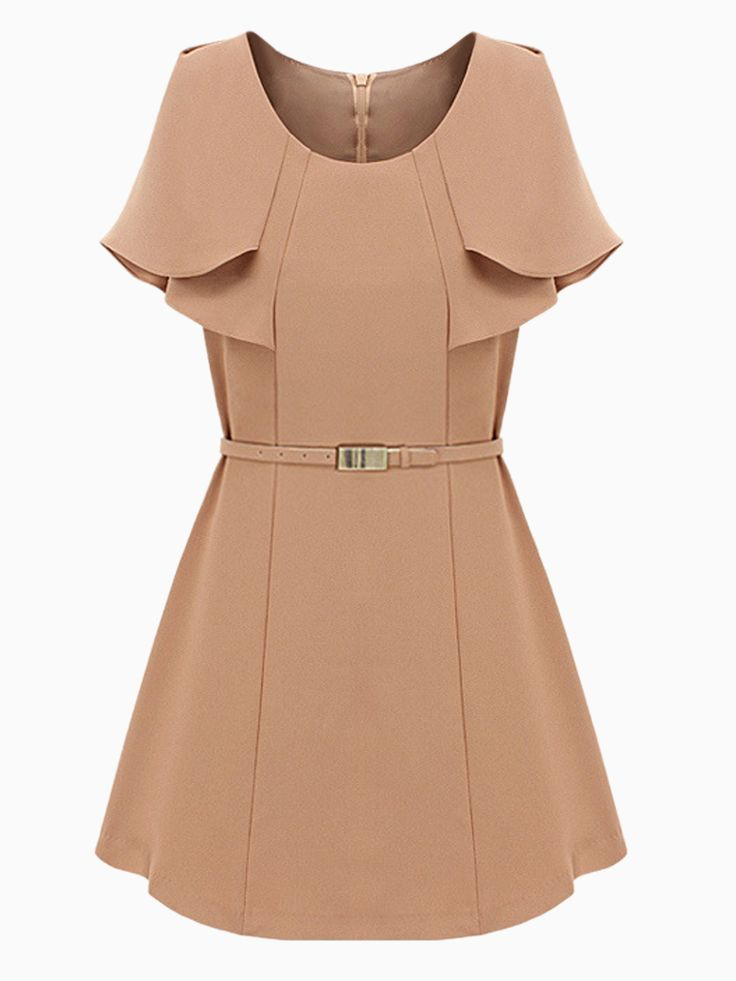 Beige Layered Cape Dress with Belt | Choies