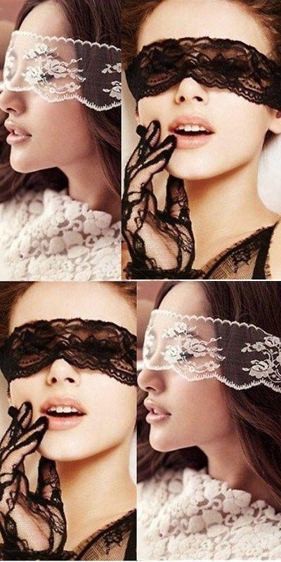 Women Lace Bodysuit Eye Mask Sexy Headwear Full Lace Black White Headbands