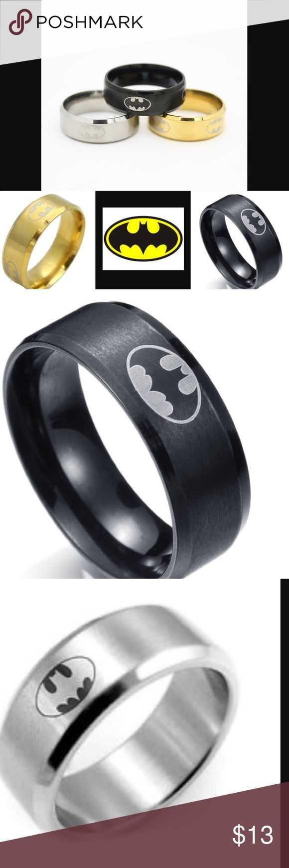 batman ring batman wedding ring Stainless steal Batman ring Stainless steal Batman logo ring 3 colors to choose from