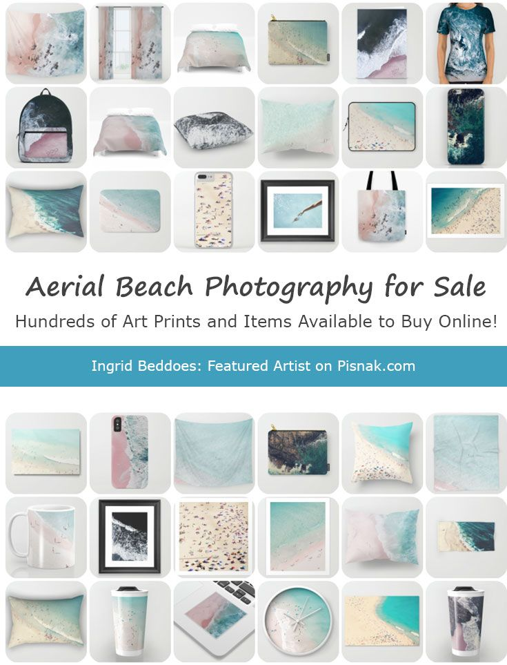 Aerial beach photography for sale by Ingrid Beddoes with shades of pink, blue, aqua, turquoise, and teal!