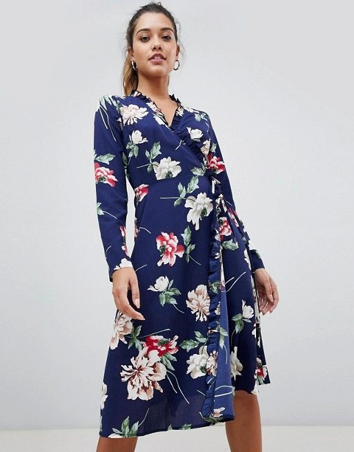 60d96d543806 Boohoo exclusive wrap midi dress in blue floral | TRENDY FASHION ...