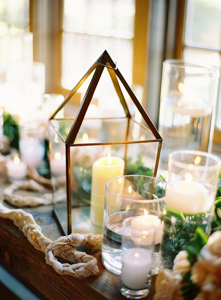 #Candles - of every size and shape for that indoor wedding reception charm! Jose Villa Photography | See the wedding on SMP:  http://www.StyleMePretty.com/2014/02/06/elegant-carmel-wedding-with-photography-by-jose-villa-ii