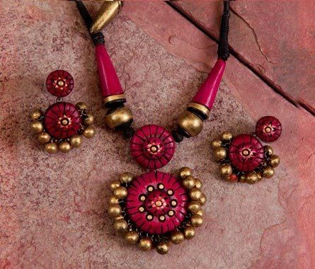 Beautiful terracotta jewelry painted in bright pink & gold https://www.facebook.com/KavisTerracottajewellery