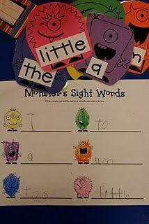 sight words: Center Ideas, Lee Kindergarten, Pete The Cat, Monsters Fun, Monsters Center, Classroom Kindergarten, Monsters Theme, Classroom Ideas, Monsters Sight