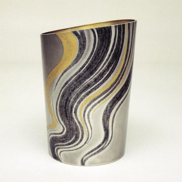 "Elephant ""flame"" vase inlaid silver grain"