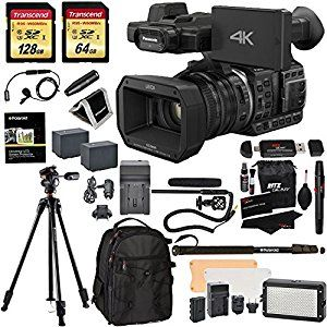 THE WHOLE KIT Panasonic HC-X1000 4K-60p/50p Camcorder with High-Powered 20x Optical Zoom and Professional Functions (Black) with Transcend 128 GB U3 SDXC + 64GB Card U3 + Polaroid Pro Video Microphone Set + VANGUARD Tripod with Pan Head + PRO LED Light + Deluxe Camera/Video Padded Backpack + Platinum Accessory Bundle  #4k #camcorder #4kcamcorder #camera #videocamera #movies #film #diy