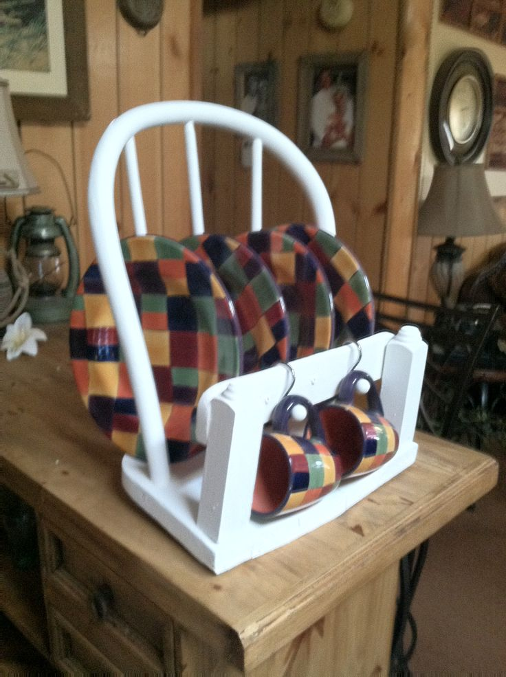 Old wooden chair repurposed into plate rack  Decorating