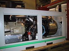 A modern Stirling engine and generator set with 55 kW electrical output, for combined heat and power applications