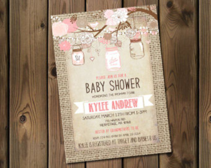 Arpillera rústica bebé chica ducha invitación, tarro de masón, Shabby Chic, rosa _53