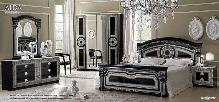 Daya Black and Silver Italian Bedroom Set - Full Range Available
