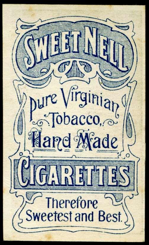 Cigarette Card Back - Sweet Nell Cigarettes