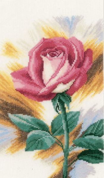 Shy Rose - cross-stitch kit by Lanarte