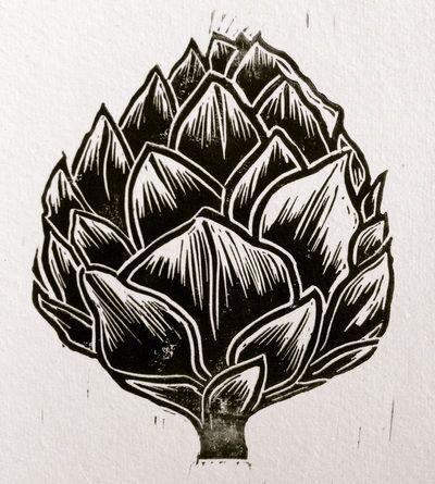 Artichoke lino cut print copyright Frances Robinson