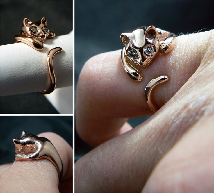 handmade cat kitten silver ring sterling for product rings lovers image little