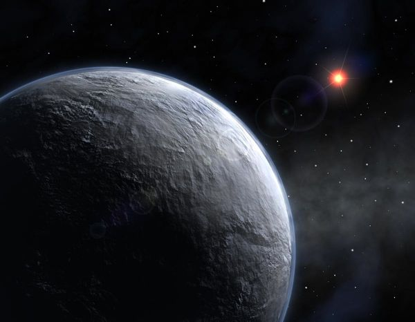 A Planet of Burning Ice - Gliese b is made almost entirely out of ice at 439 degrees Celsius. The water stays solid because the gravity pulls it all to the core keeping the molecules so densely packed they can not evaporate.