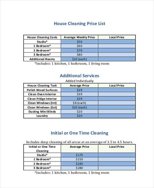 House Cleaning Cost Services Service Prices Places