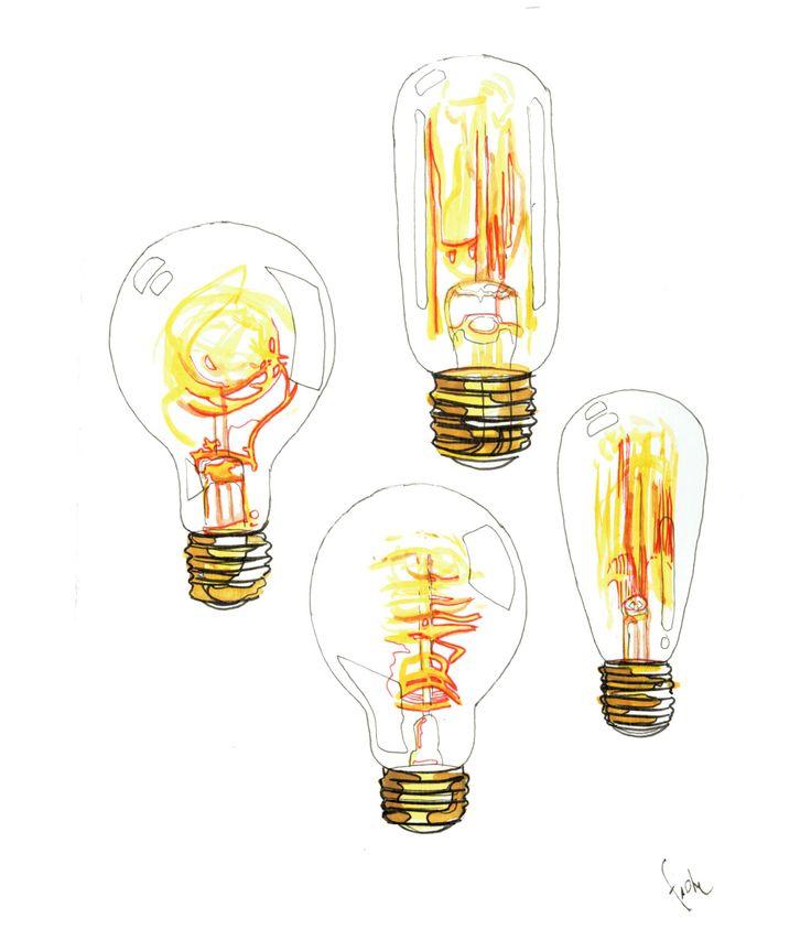 minimalist watercolor print: Lightbulbs by Fache on Etsy