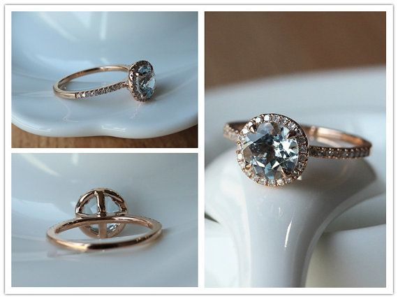 Ring Details: *Metal Type of this ring is in Solid 14k Rose Gold (Yellow Gold & White Gold are available). *Main Stone is Natural Round Cut Aquamarine