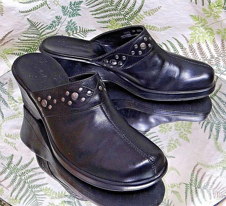 CLARKS BLACK LEATHER MULES SLIDES SLIP ONS DRESS WORK SHOES HEELS WOMENS SZ 7 M #Clarks #Mules #WeartoWork