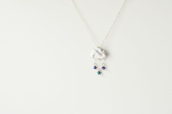 Rain cloud necklace / 925 Silver rain necklace by arassijewelry, $27.50