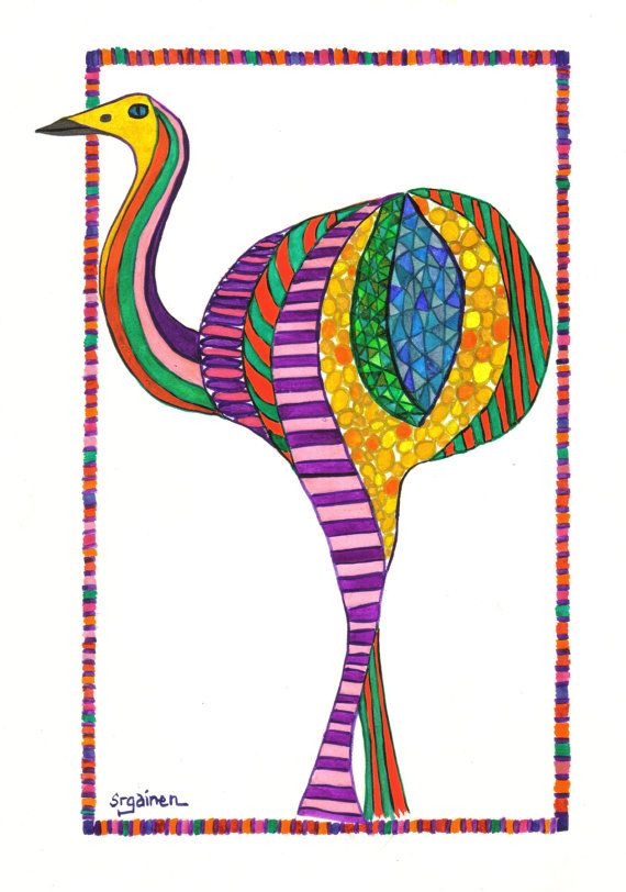 Celebration Rhea Bird: An original watercolor by SusanGainen