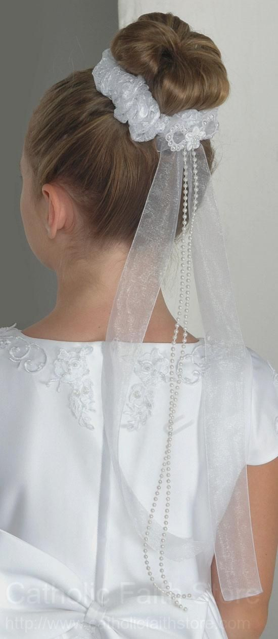 First Communion Bun Wrap in Lace with Organza and Pearl Ribbon : CC1080 #catholicfaithstore
