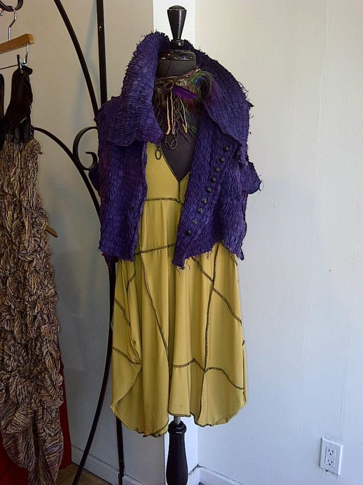 Yellow dress with purple scarf